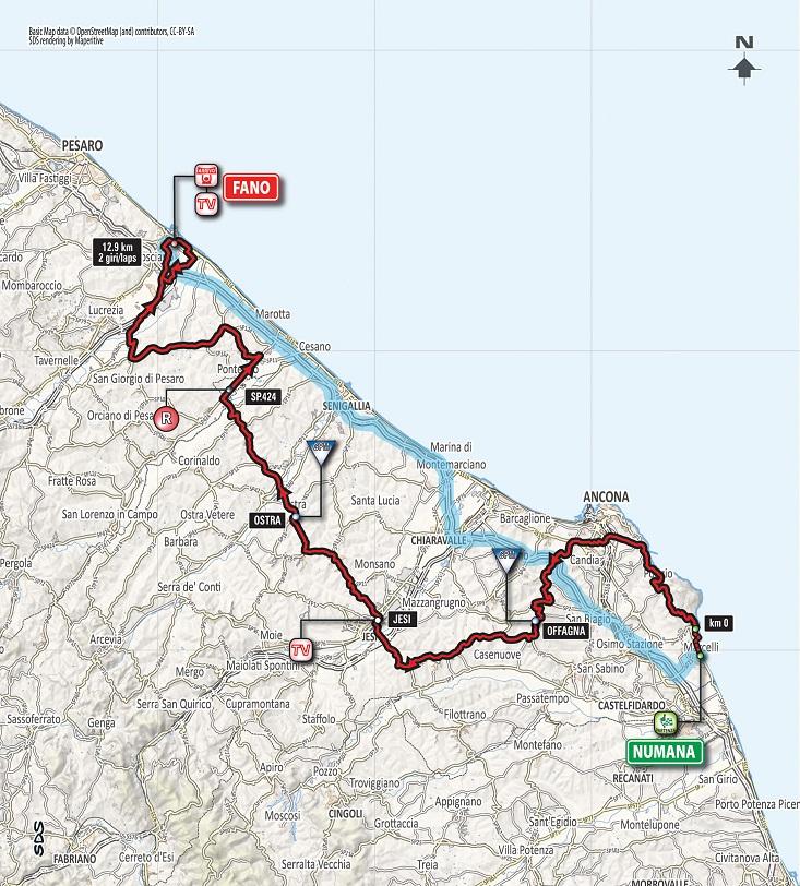 Streckenverlauf Tirreno - Adriatico 2018 - Etappe 6