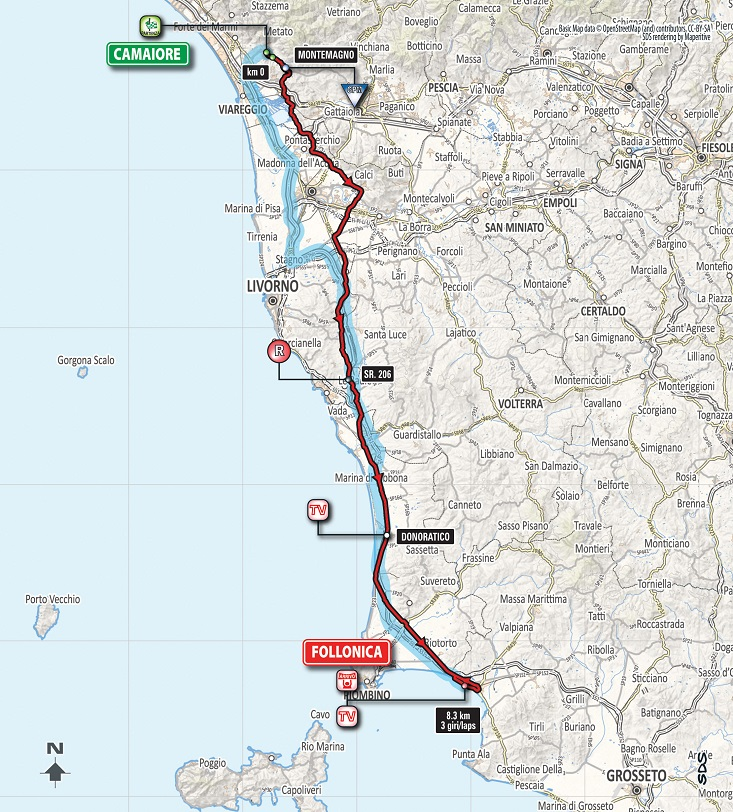 Streckenverlauf Tirreno - Adriatico 2018 - Etappe 2