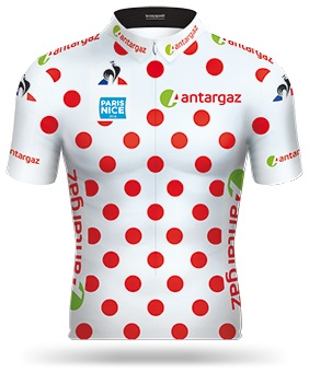 Reglement Paris - Nice 2018 - Weißes Trikot mit roten Punkten (Bergwertung)