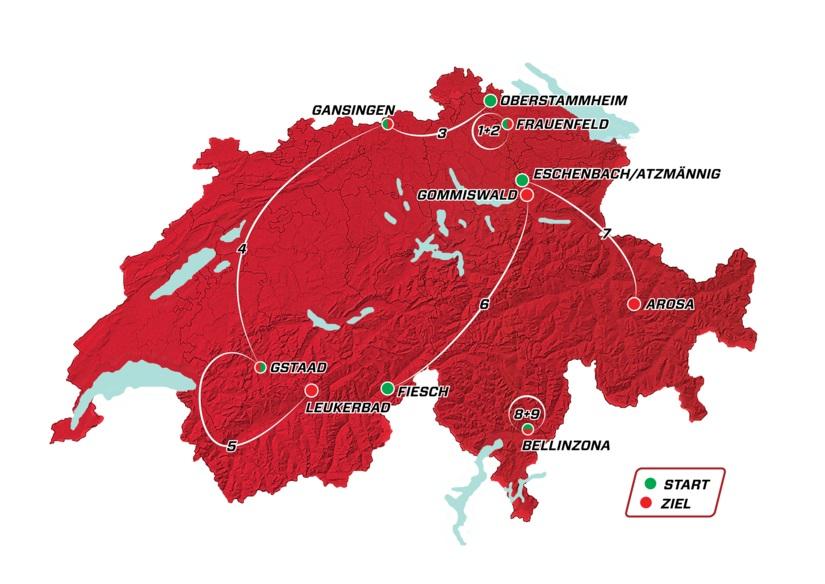 Streckenpräsentation Tour de Suisse 2018: Streckenkarte