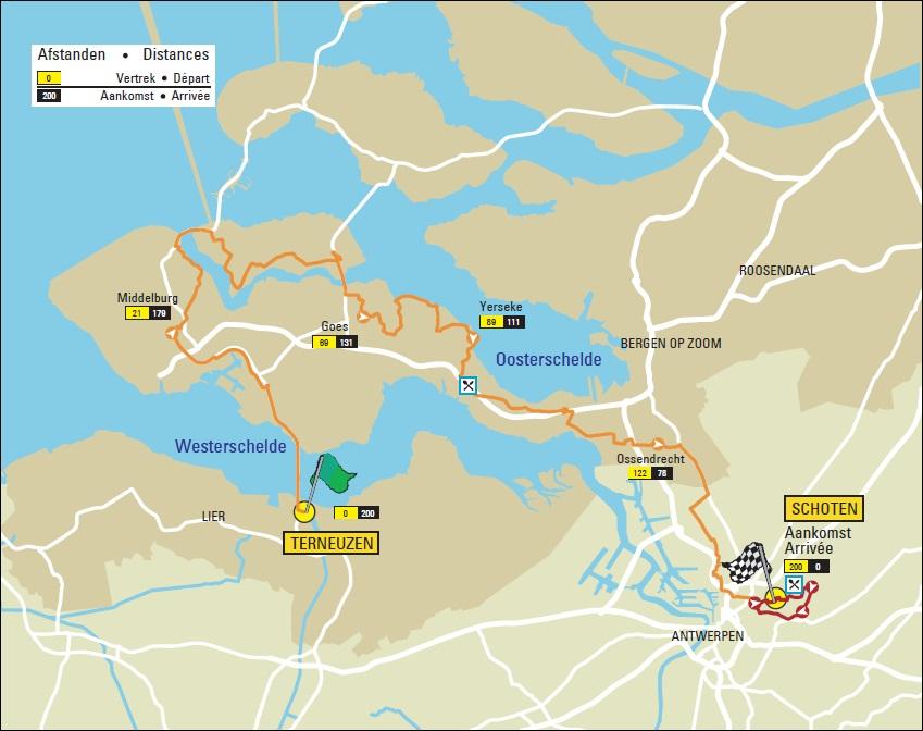 Streckenverlauf Scheldeprijs 2018