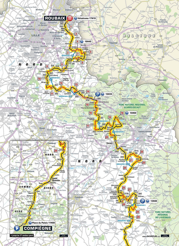 Streckenverlauf Paris - Roubaix 2018