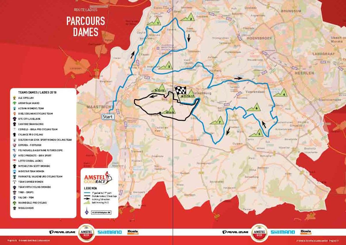 Streckenverlauf Amstel Gold Race Ladies Edition 2018