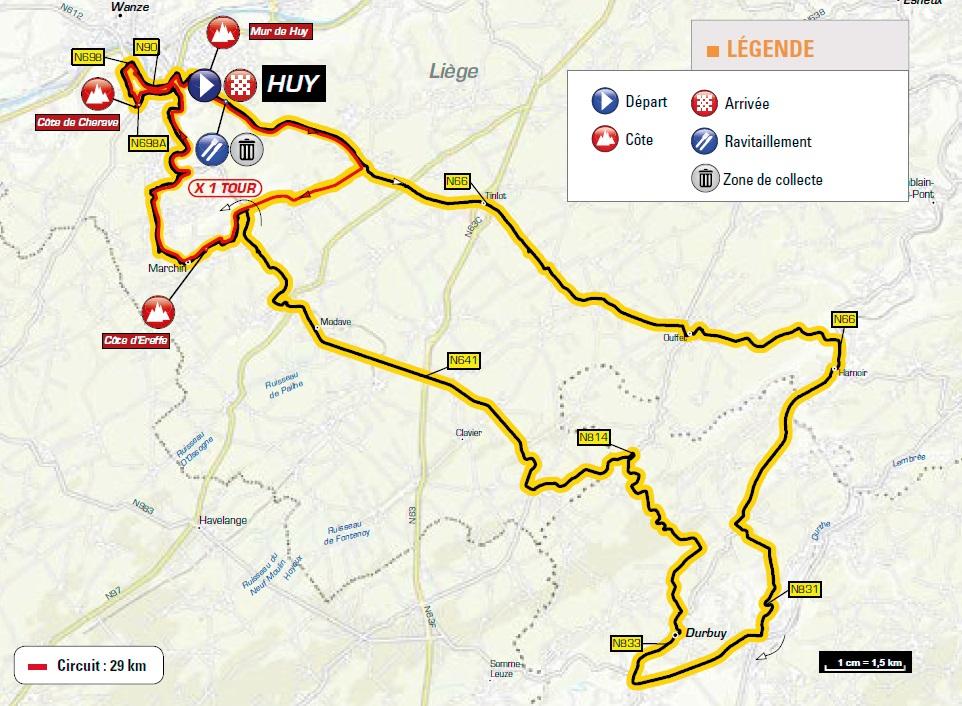 Streckenverlauf La Flèche Wallonne Féminine 2018