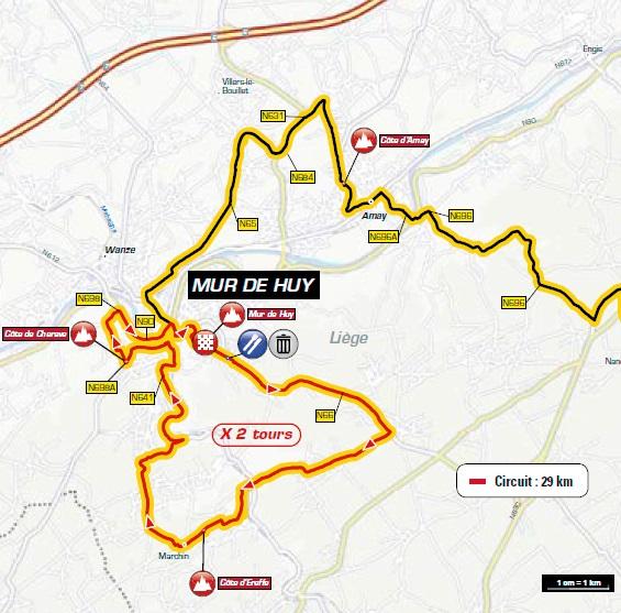 Streckenverlauf La Flèche Wallonne 2018, Rundkurs