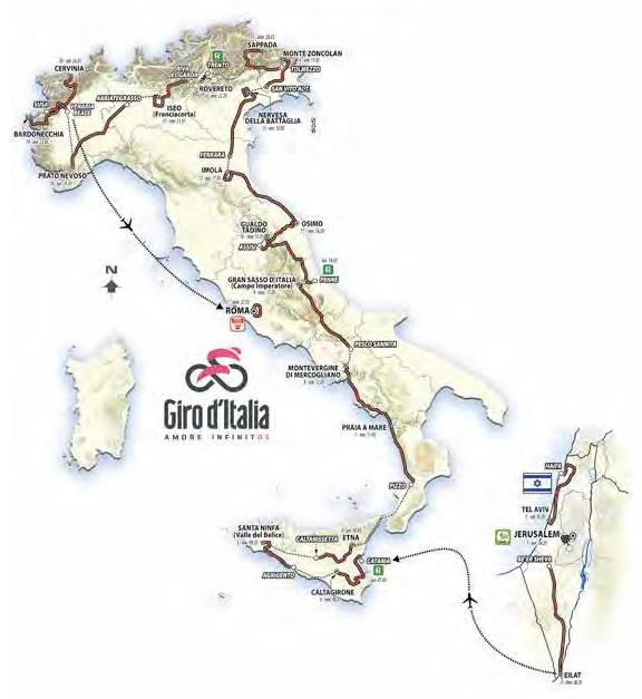 Streckenverlauf Giro d'Italia 2018