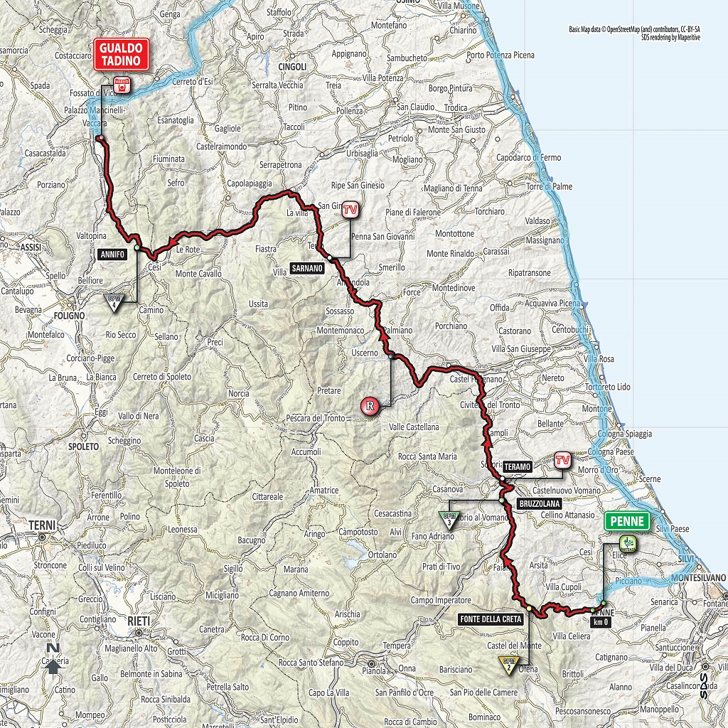 Streckenverlauf Giro d'Italia 2018 - Etappe 10