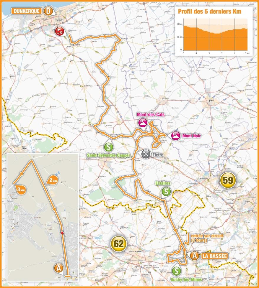 Streckenverlauf 4 Jours de Dunkerque / Grand Prix des Hauts de France 2018 - Etappe 1
