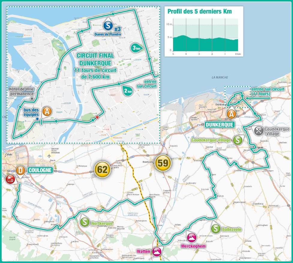 Streckenverlauf 4 Jours de Dunkerque / Grand Prix des Hauts de France 2018 - Etappe 6