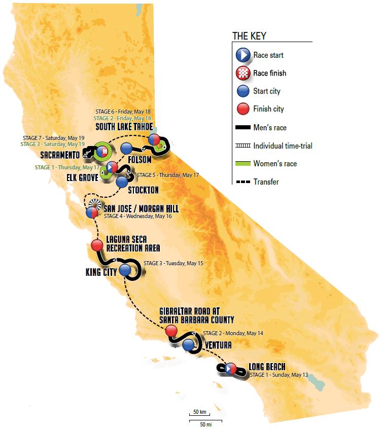 Streckenverlauf Amgen Tour of California 2018