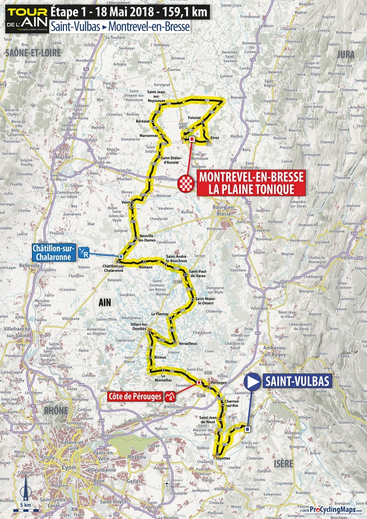 Streckenverlauf Tour de l'Ain 2018 - Etappe 1