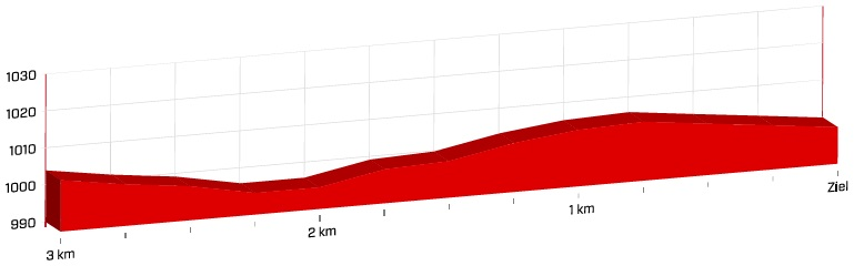 Höhenprofil Tour de Suisse 2018 - Etappe 4, letzte 3 km