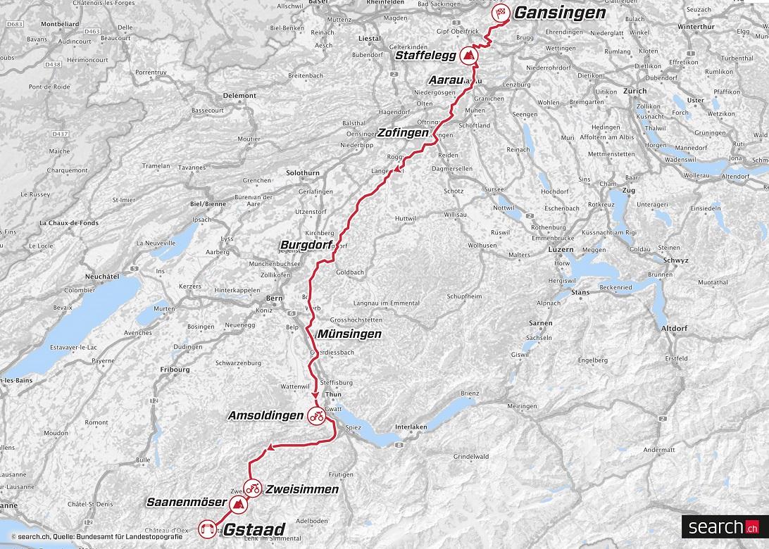 Streckenverlauf Tour de Suisse 2018 - Etappe 4