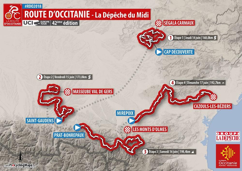 Streckenverlauf Route d'Occitanie 2018