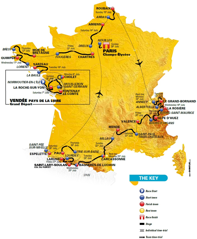 Streckenverlauf Tour de France 2018