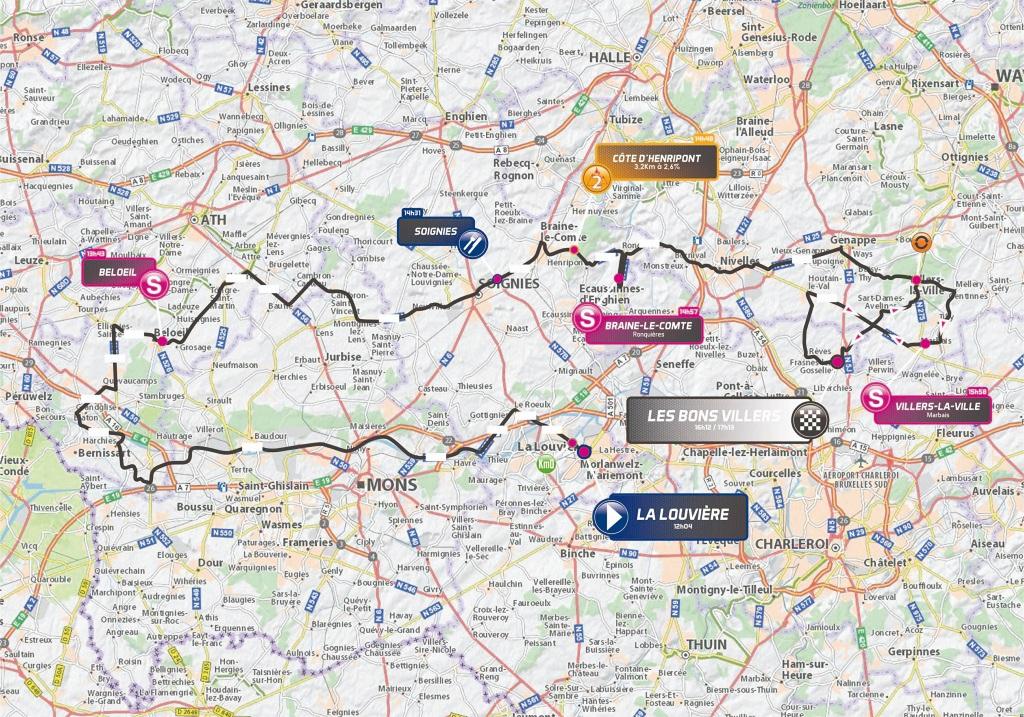Streckenverlauf VOO-Tour de Wallonie 2018 - Etappe 1