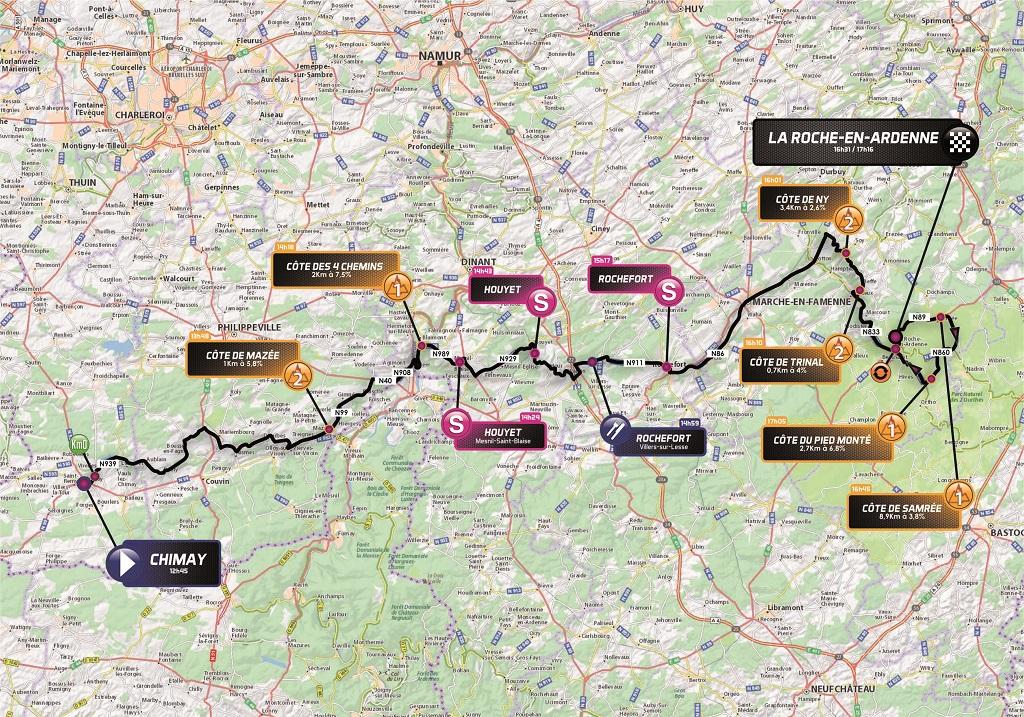 Streckenverlauf VOO-Tour de Wallonie 2018 - Etappe 3