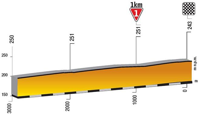 Höhenprofil Tour de Pologne 2018 - Etappe 3, letzte 3 km