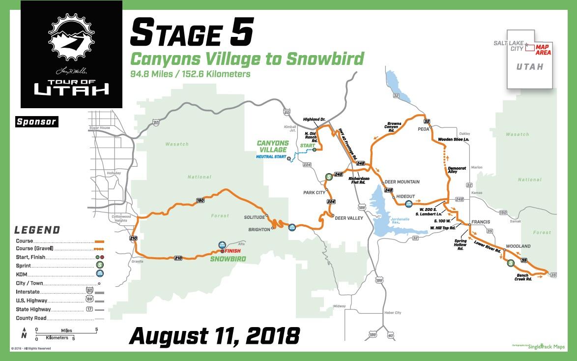 Streckenverlauf The Larry H. Miller Tour of Utah 2018 - Etappe 5