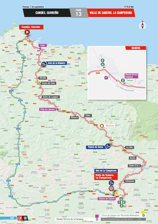 Streckenverlauf Vuelta a España 2018 - Etappe 13