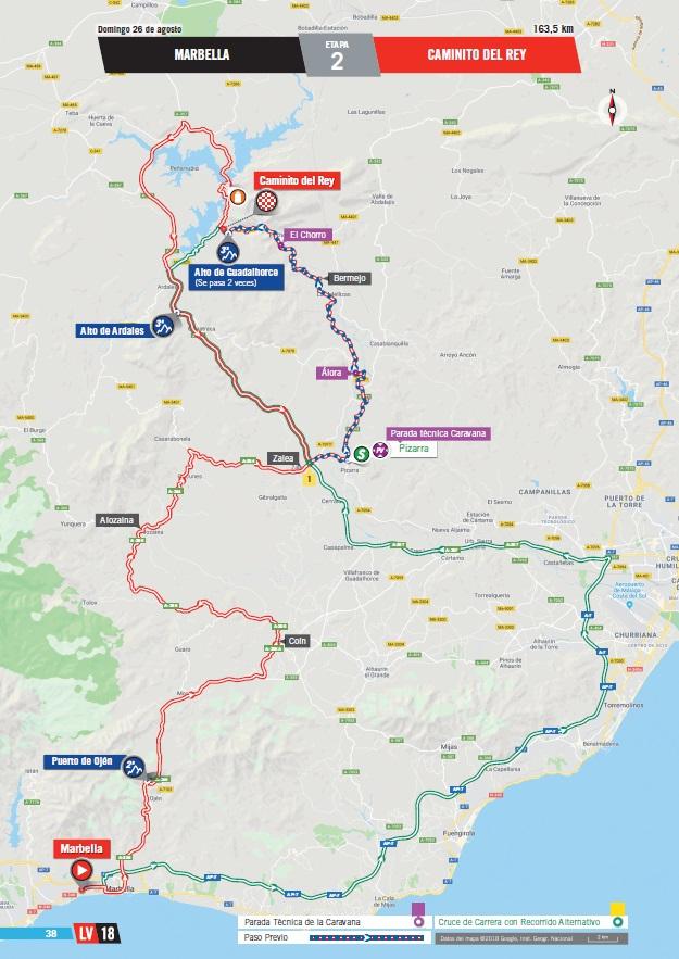 Streckenverlauf Vuelta a España 2018 - Etappe 2