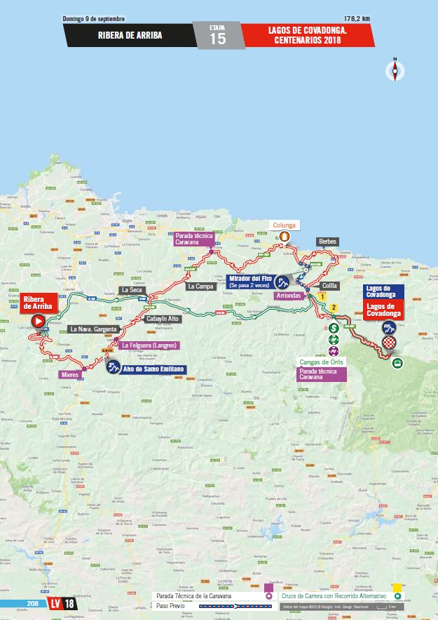 Streckenverlauf Vuelta a España 2018 - Etappe 15