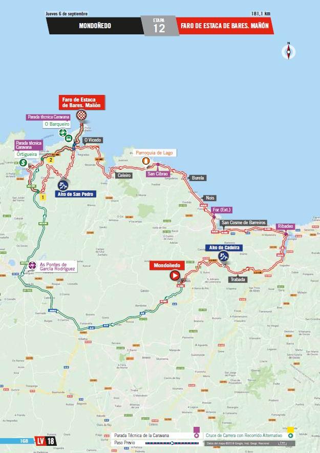 Streckenverlauf Vuelta a España 2018 - Etappe 12