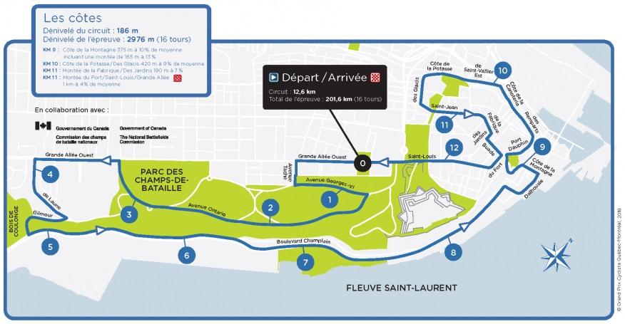 Streckenverlauf Grand Prix Cycliste de Québec 2018