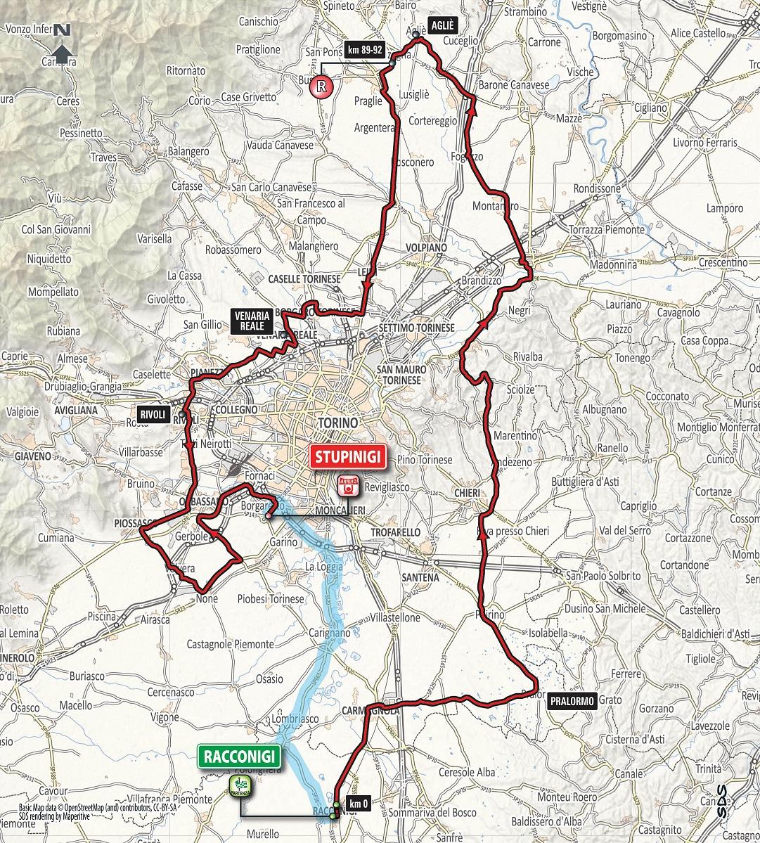 Streckenverlauf Gran Piemonte 2018