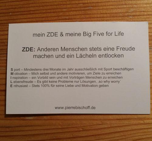 """Visitenkarte Pierre Bischoff - """"ZDE bedeutet Zweck der Existenz"""""""