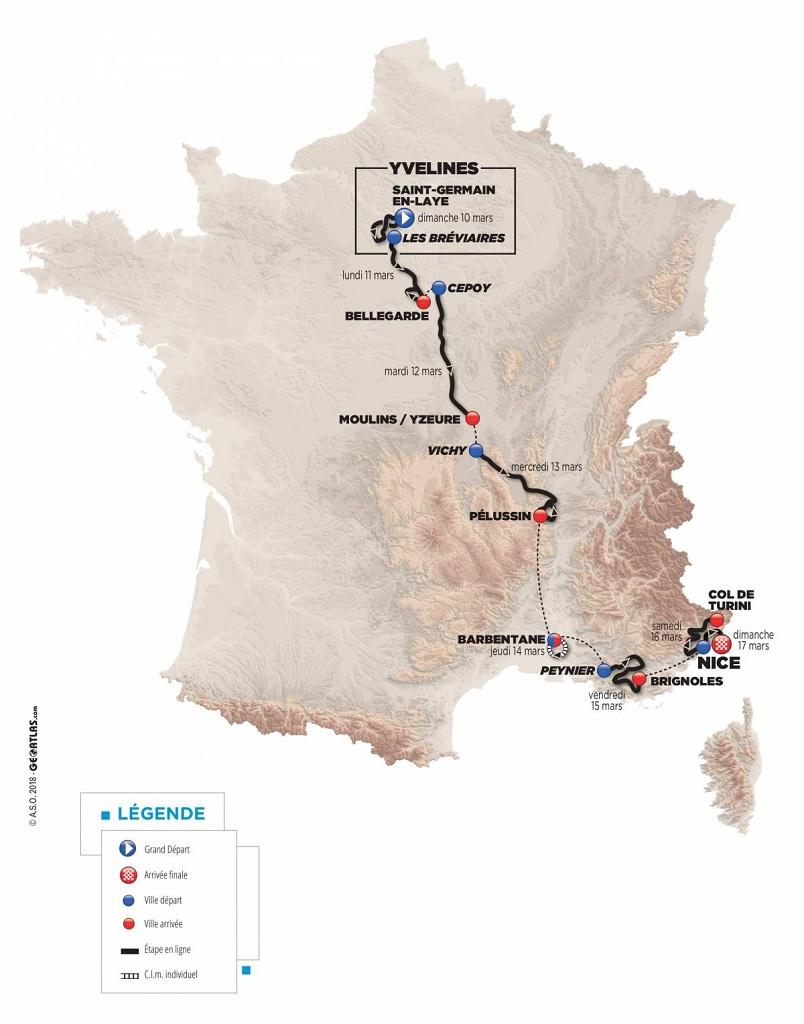 Präsentation Paris-Nizza 2019: Streckenkarte