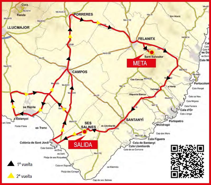 Streckenverlauf Trofeo Ses Salines-Campos-Porreres-Felanitx 2019