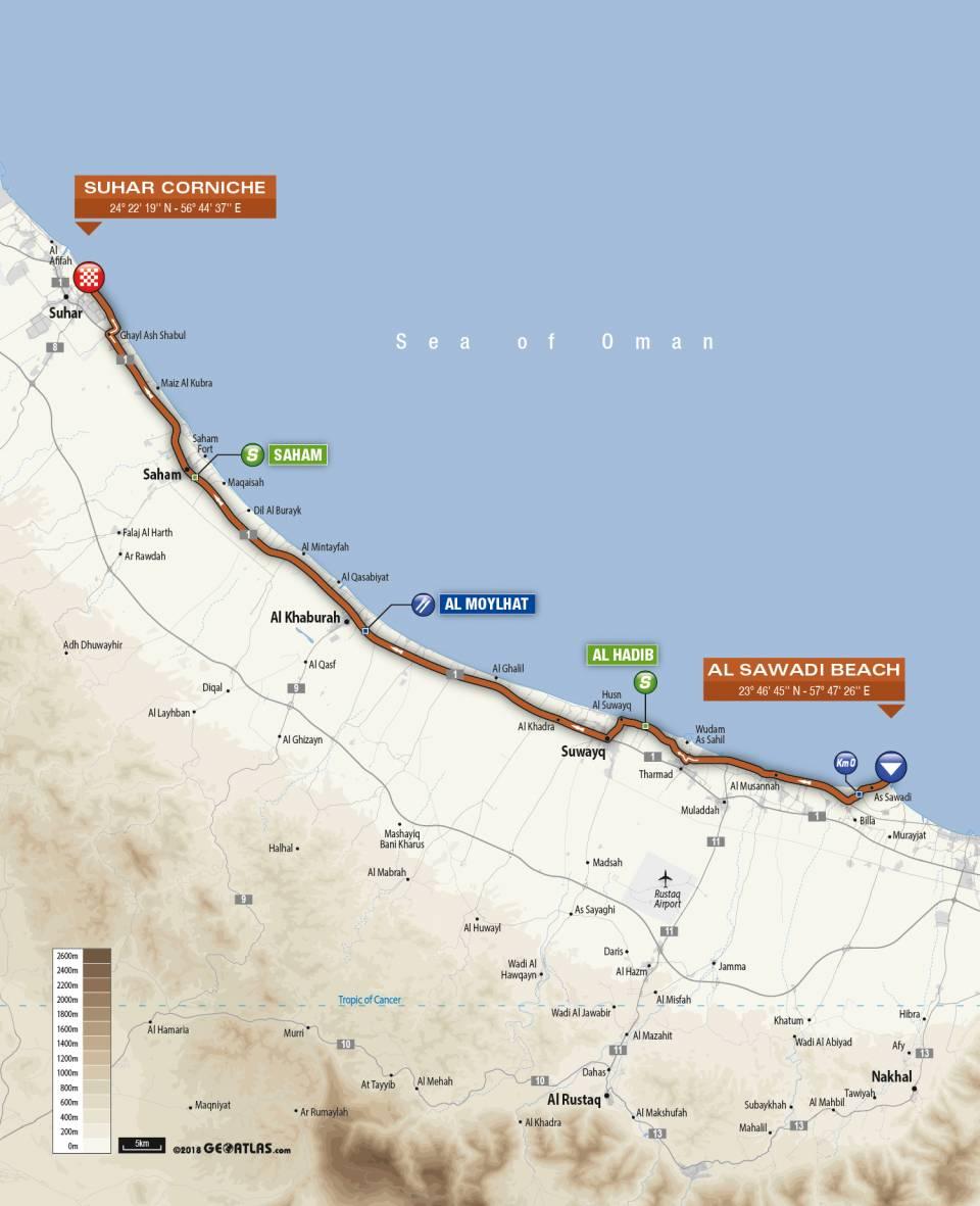 Streckenverlauf Tour of Oman 2019 - Etappe 1