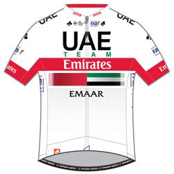Trikot UAE Team Emirates (UAD) 2019 (Quelle: UCI)