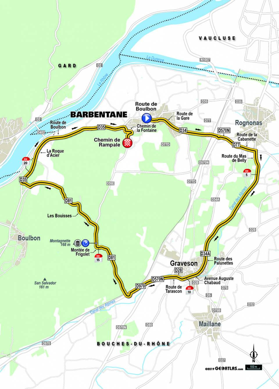 Streckenverlauf Paris - Nice 2019 - Etappe 5