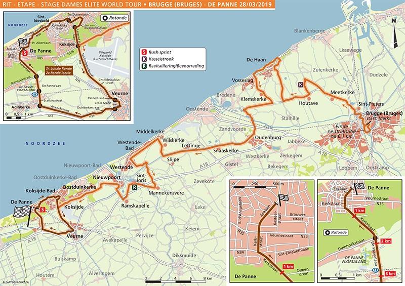 Streckenverlauf Driedaagse Brugge - De Panne 2019 (Frauen)