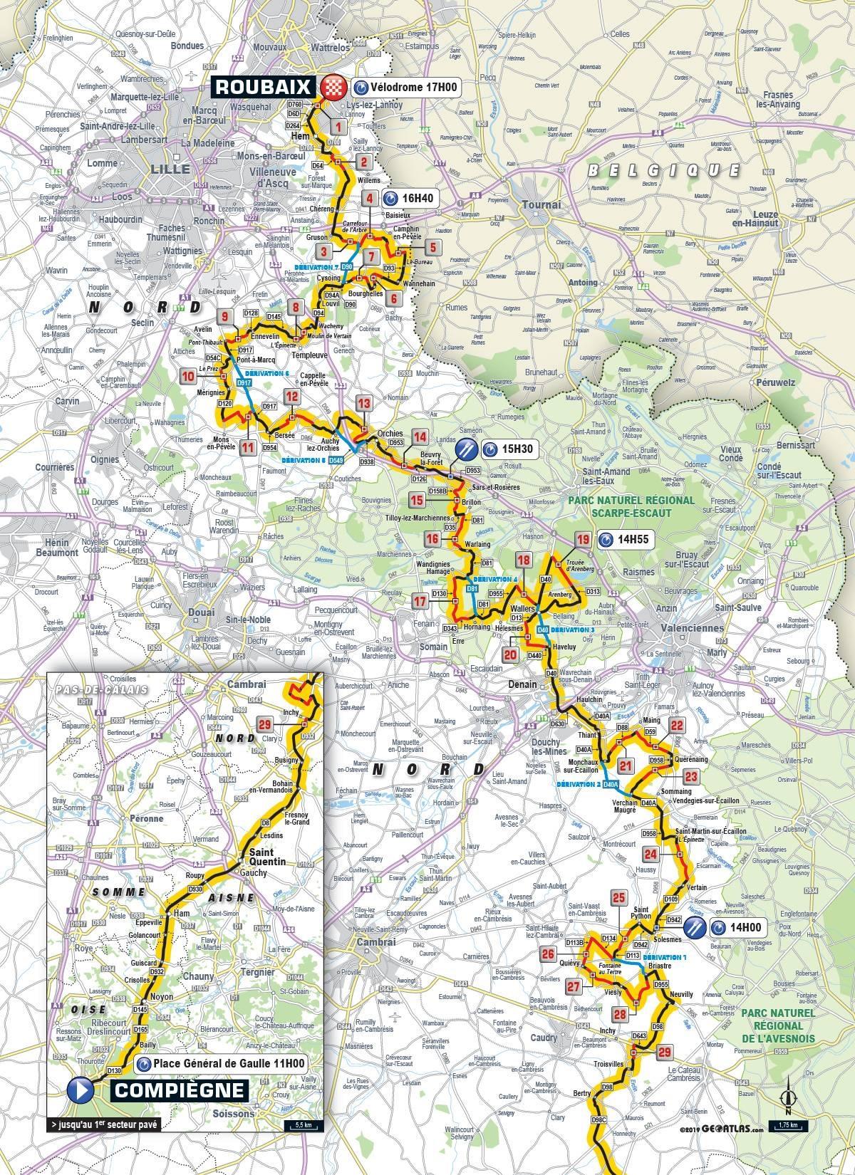 Streckenverlauf Paris - Roubaix 2019