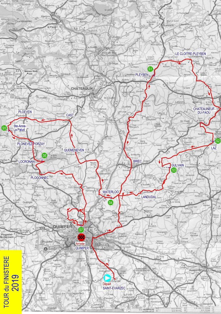 Streckenverlauf Tour du Finistère 2019