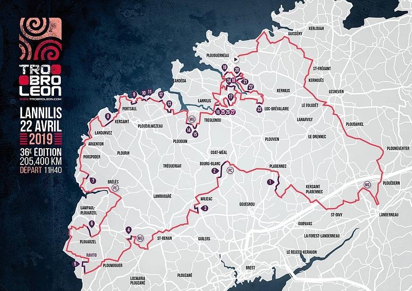 Streckenverlauf Tro-Bro Léon 2019