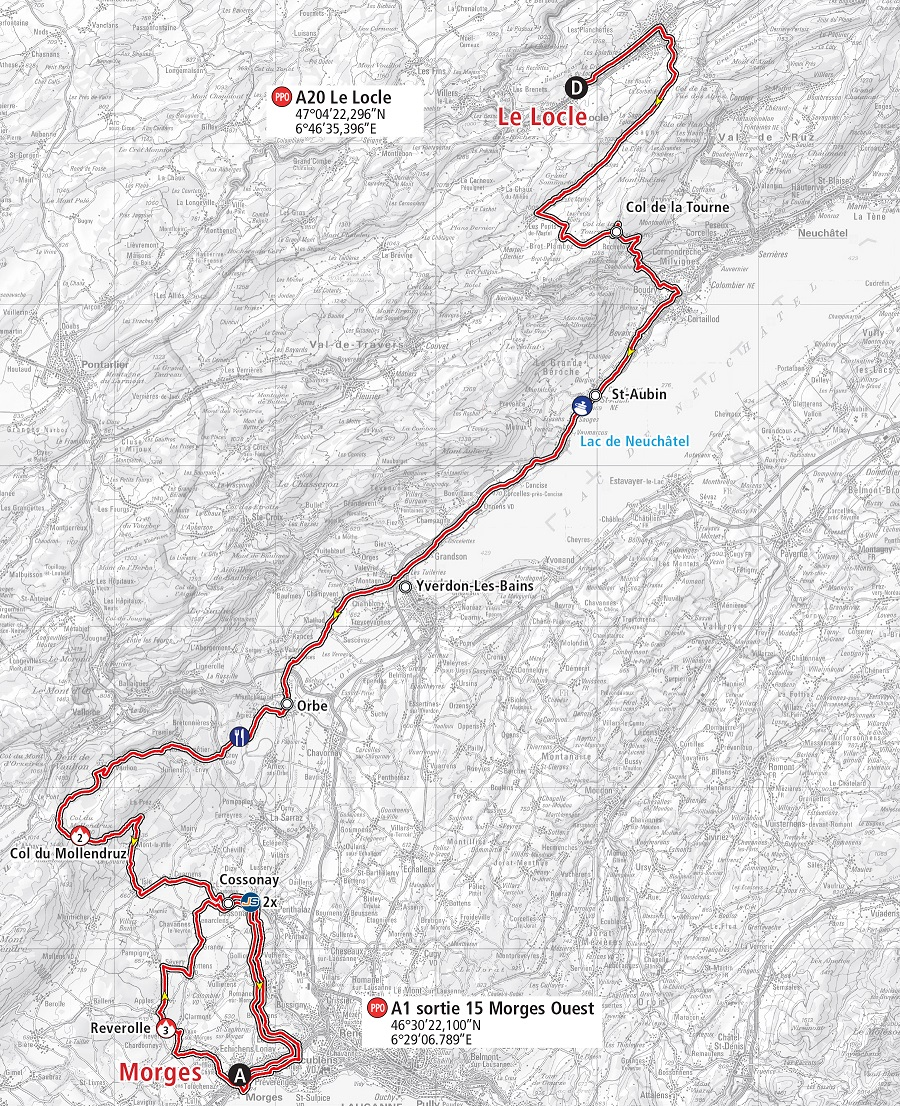 Streckenverlauf Tour de Romandie 2019 - Etappe 2