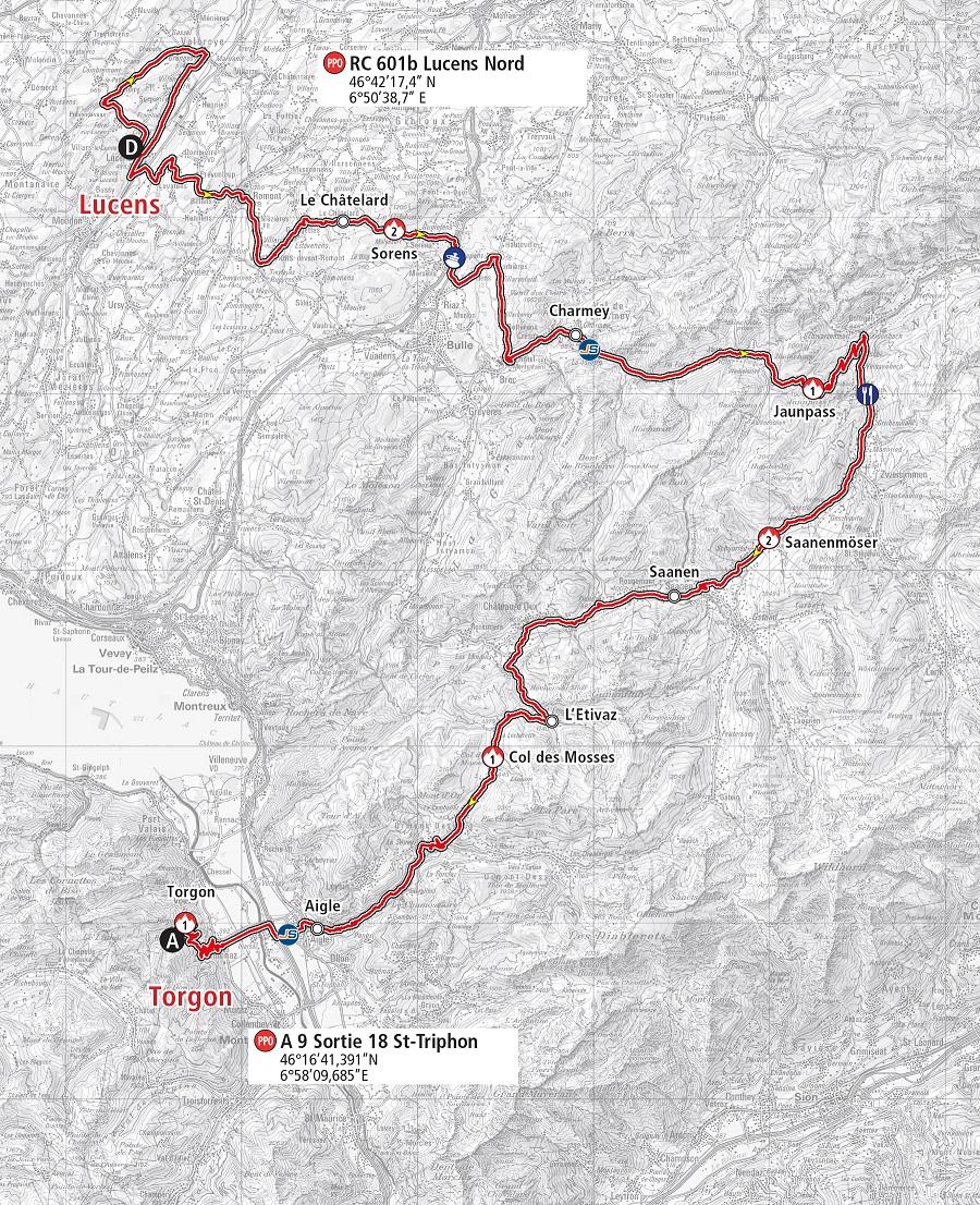 Streckenverlauf Tour de Romandie 2019 - Etappe 4