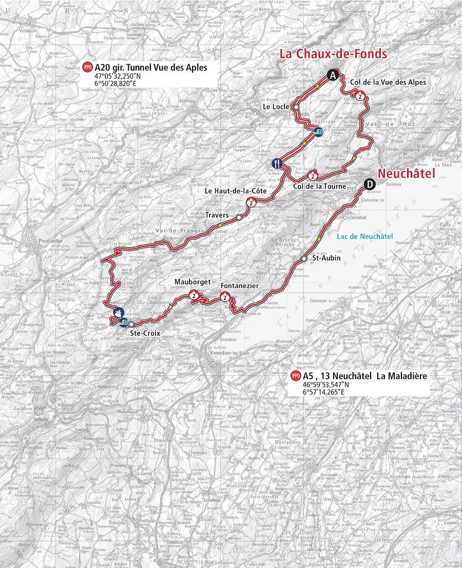 Streckenverlauf Tour de Romandie 2019 - Etappe 1