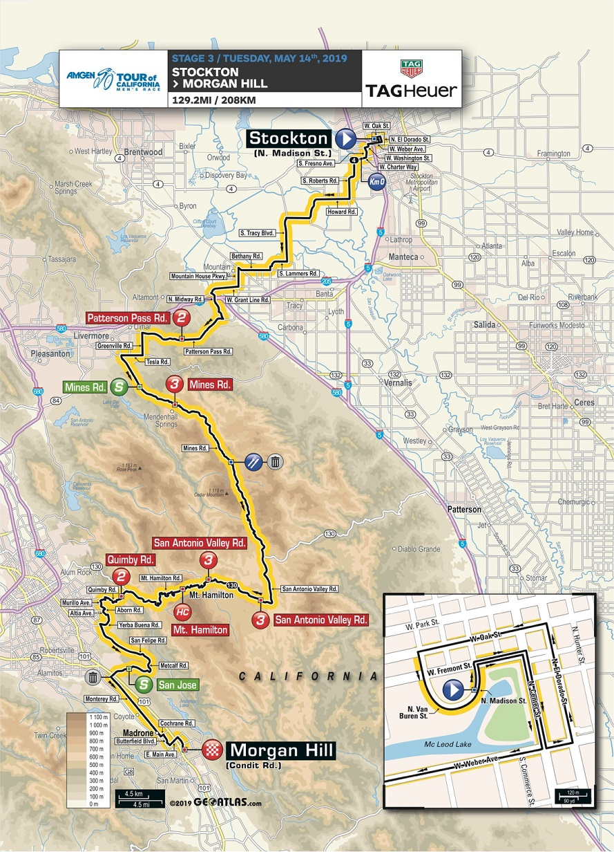 Streckenverlauf Amgen Tour of California 2019 - Etappe 3