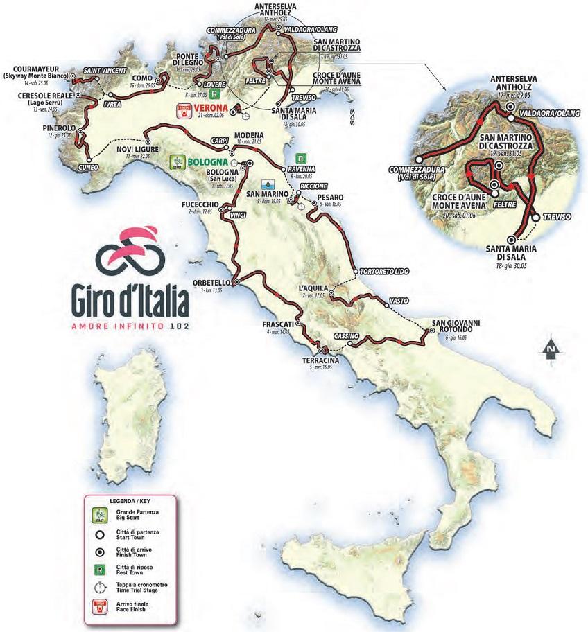 Streckenverlauf Giro d'Italia 2019