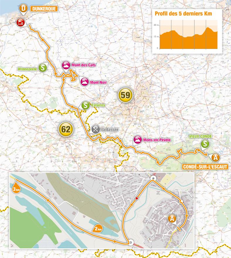 Streckenverlauf 4 Jours de Dunkerque / Grand Prix des Hauts de France 2019 - Etappe 1