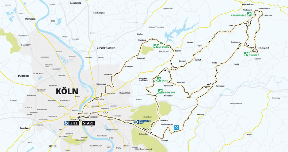 Streckenverlauf Rund um Köln 2019