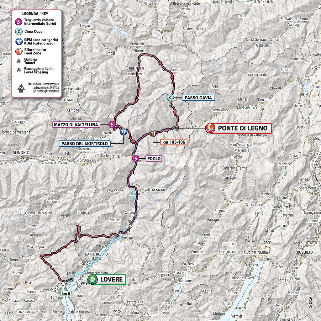 Die alte Streckenkarte der 16. Etappe des Giro d'Italia