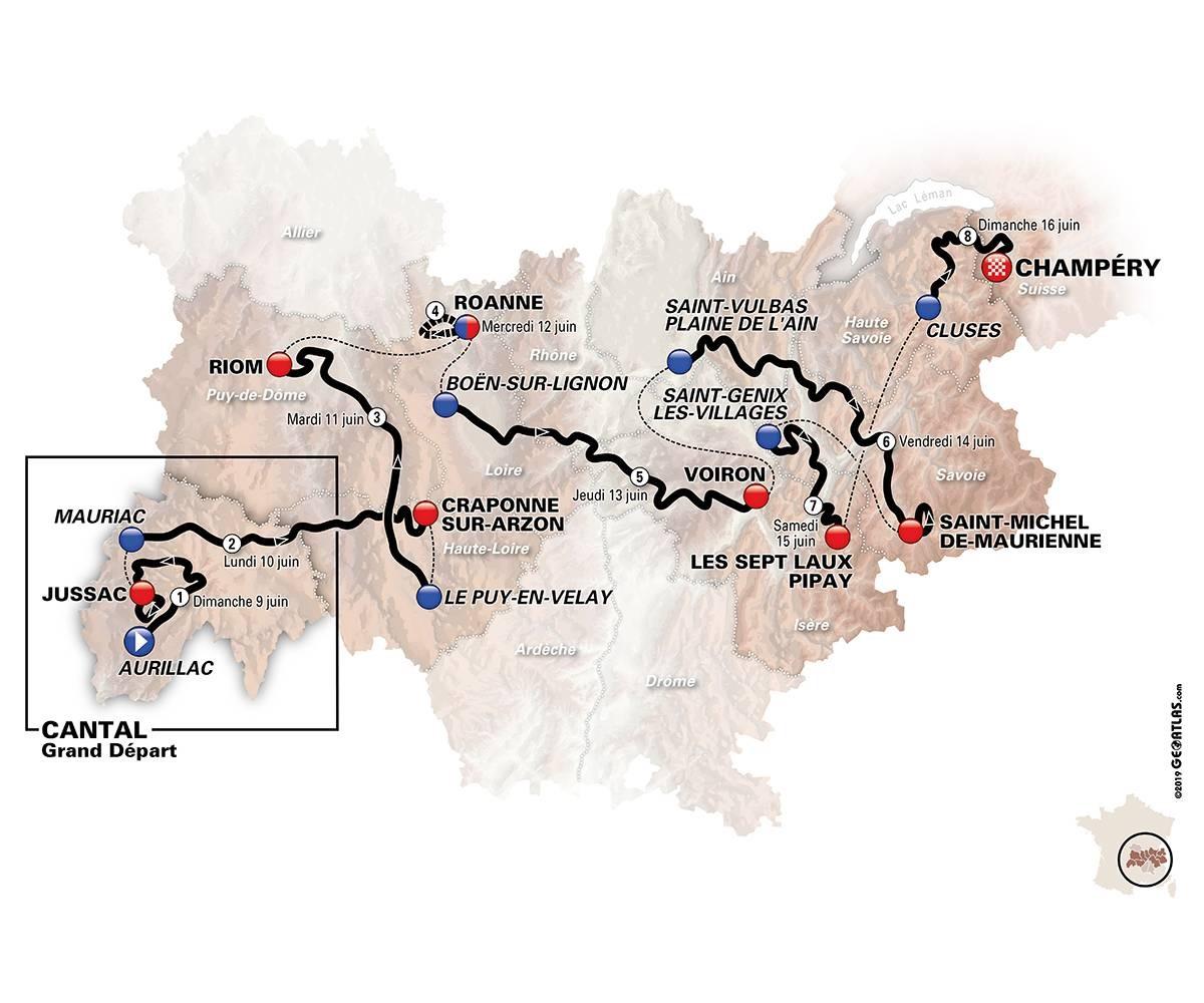 Streckenverlauf Critérium du Dauphiné 2019
