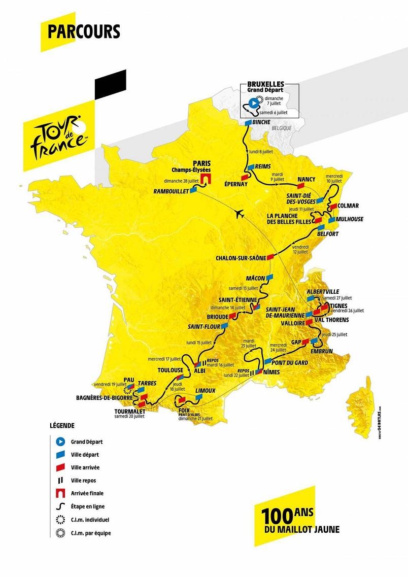 Streckenverlauf Tour de France 2019