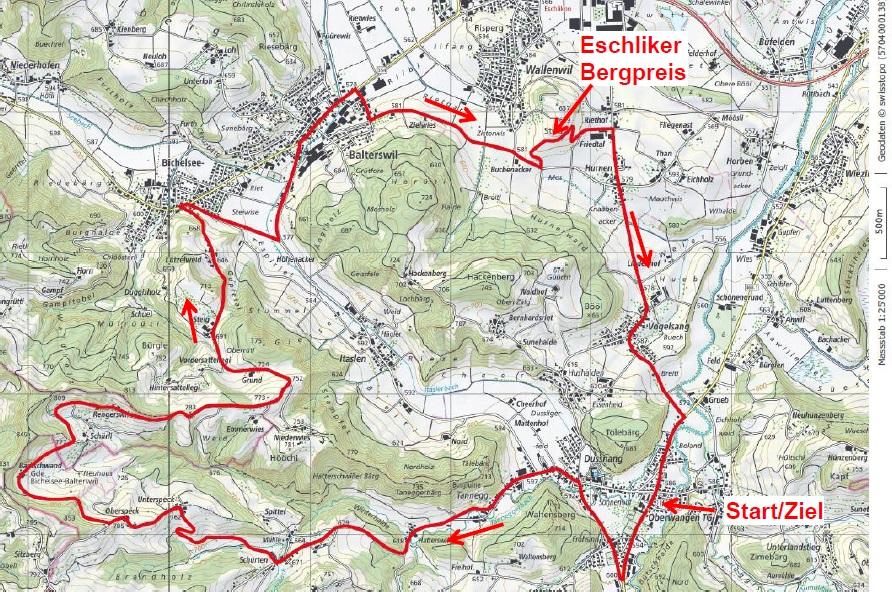 Streckenverlauf Nationale Meisterschaften Schweiz 2019 - Straßenrennen, kleiner Rundkurs (18,3 km / 320 hm)